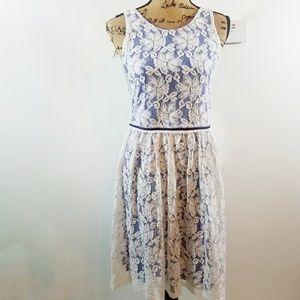 Mystree Sleeveless Blue Dress w White Lace